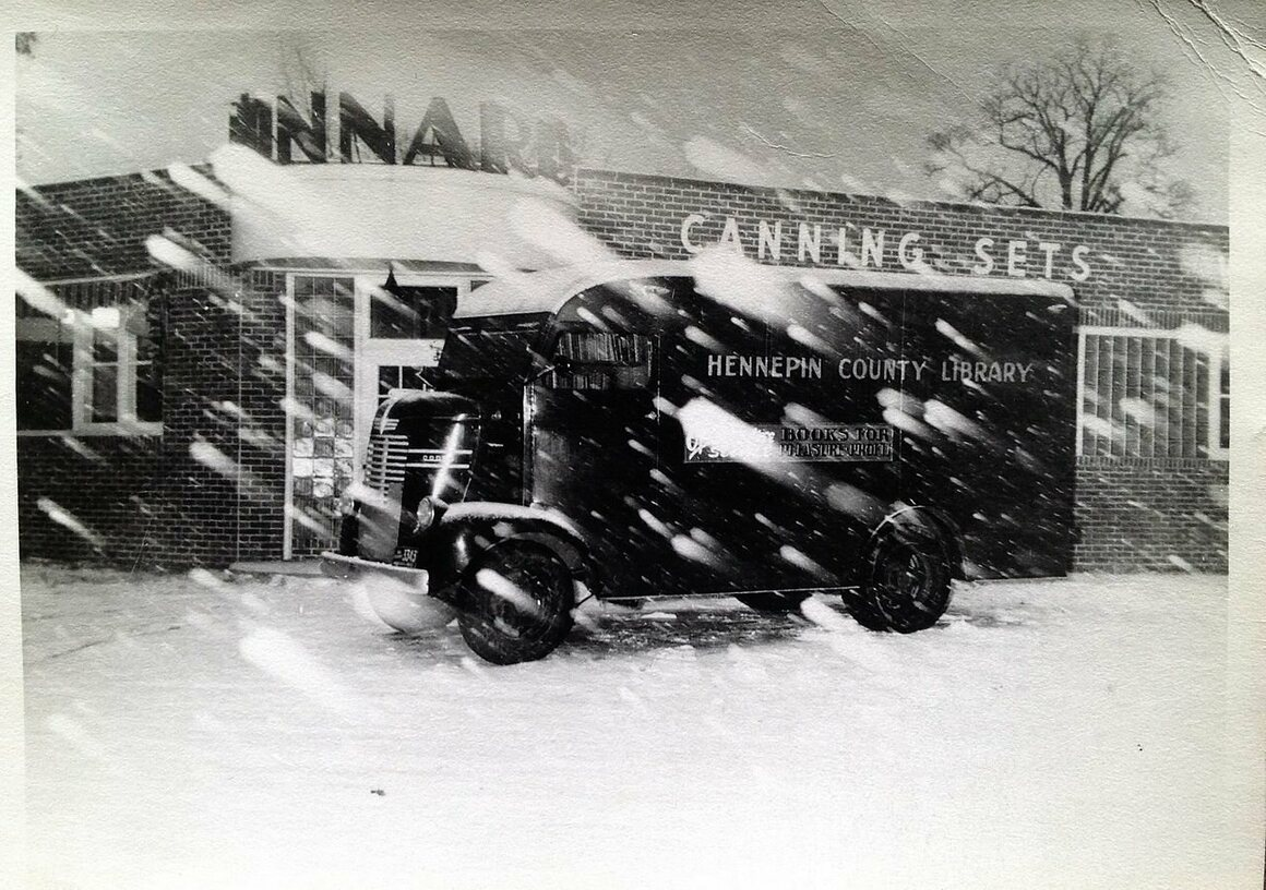 The Hennepin County Library bookmobile in bad weather, Minnesota, c. 1950s.