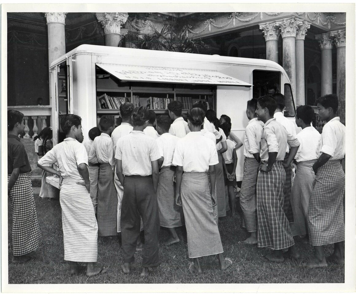A bookmobile in Yangon, Myanmar (then Rangoon, Burma), c. 1950s.