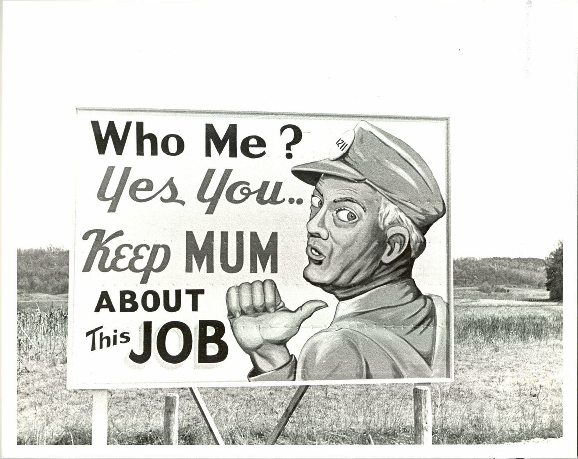 Sign for Manhattan Project participants.