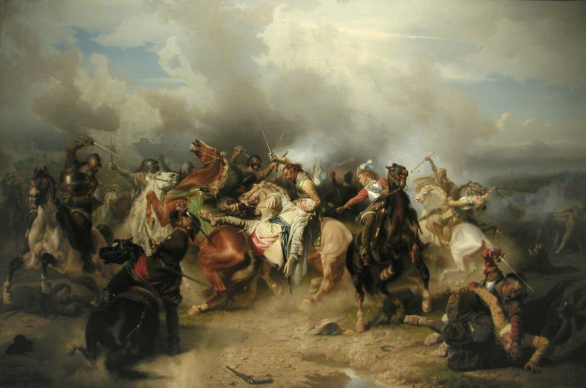 A 19th century painting of the Battle of Lützen and the death of the Swedish king.