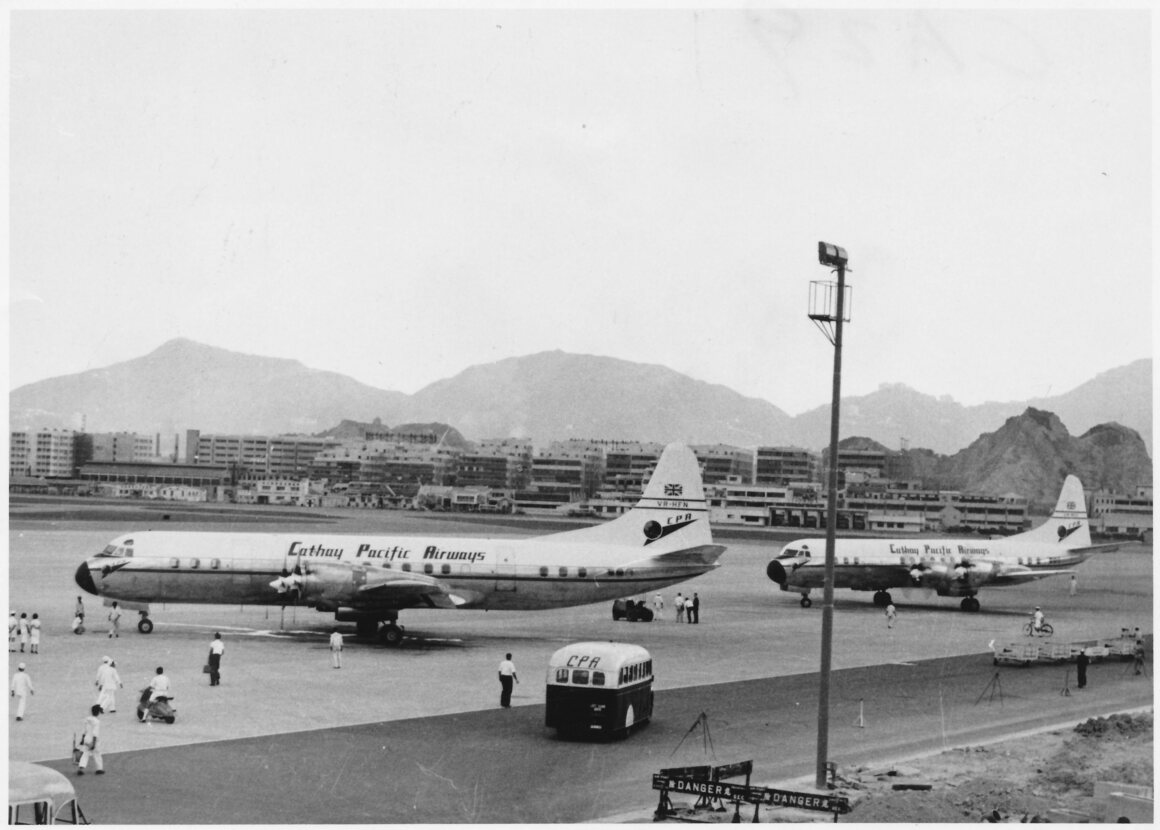 Cathay Pacific Airways Lockheed L-188A Electra's at Kai Tak Airport, c. 1960.