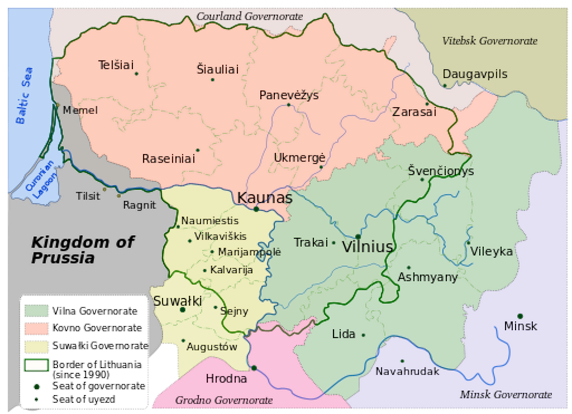 Map of Lithuania under Russian control.