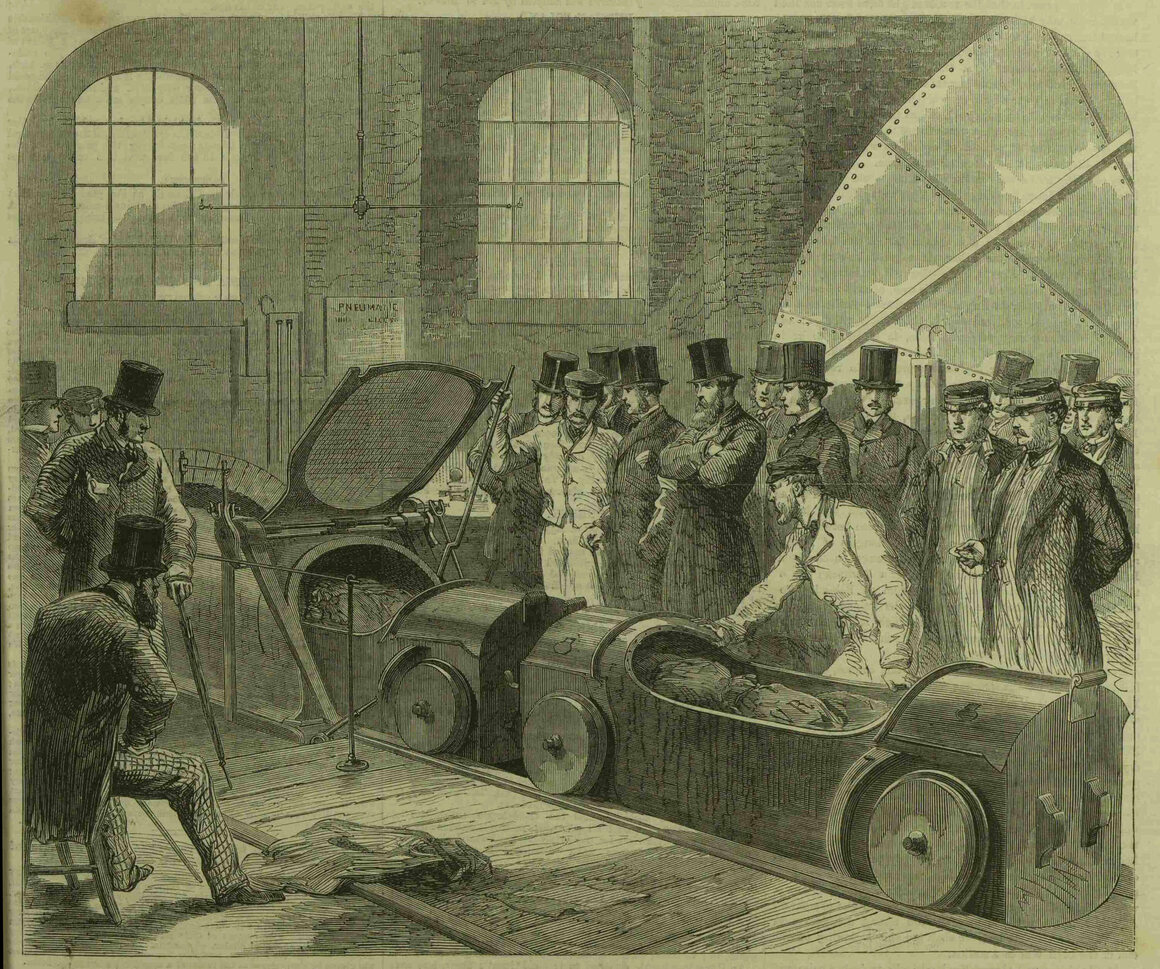 A demonstration of the pneumatic postal railway from <em>The Illustrated London News</em>, 1863.