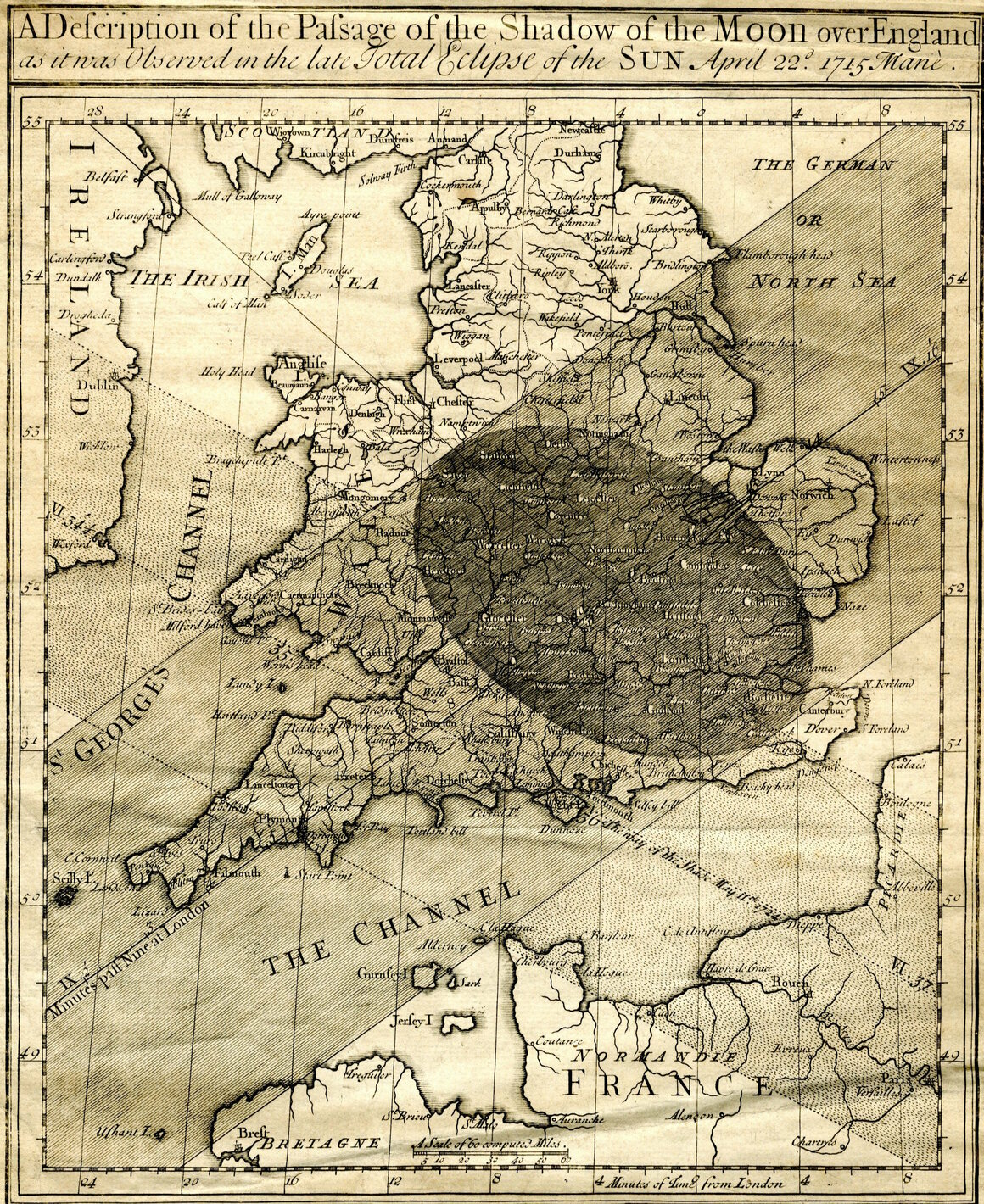 Halley's map of the eclipse of 1715.