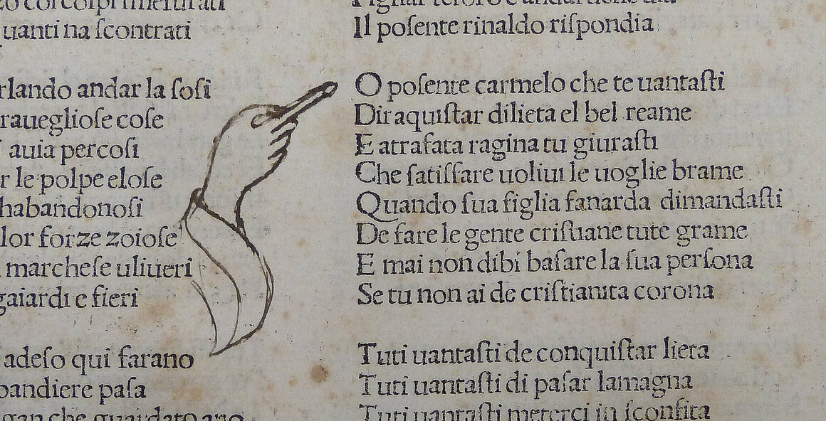 A manicule with a large cuffed sleeve, 1481.