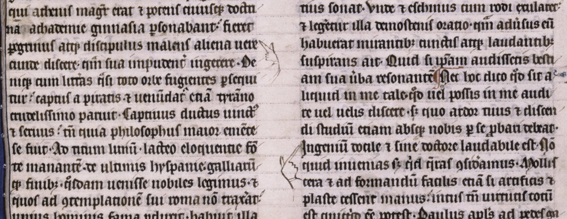 Manicules down the center of a late 13th-century manuscript.