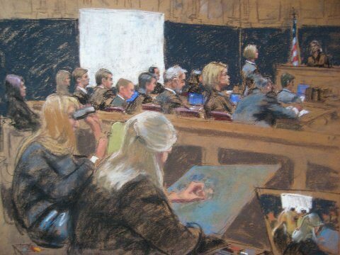 Jane Rosenberg's illustration of courtroom artists at work at the Martha Stewart trial in 2003.