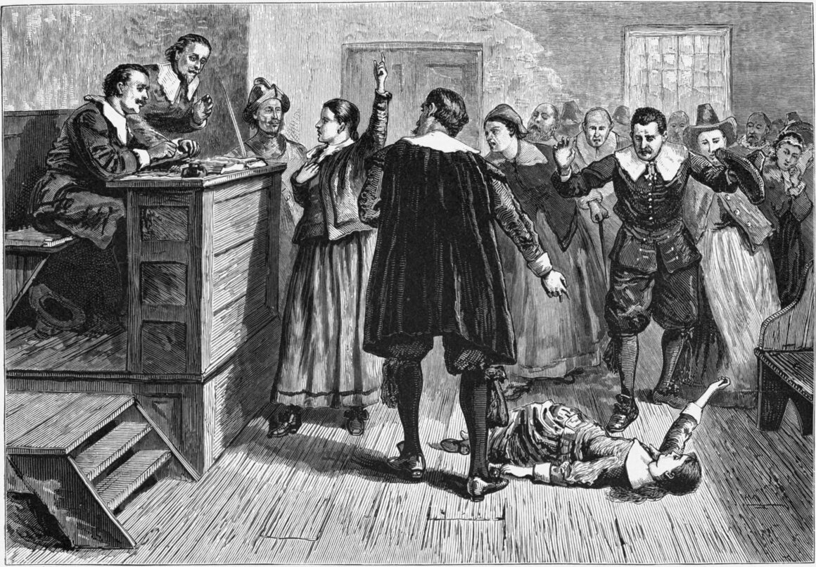 An unattributed 1876 engraving of a Salem witch trial.