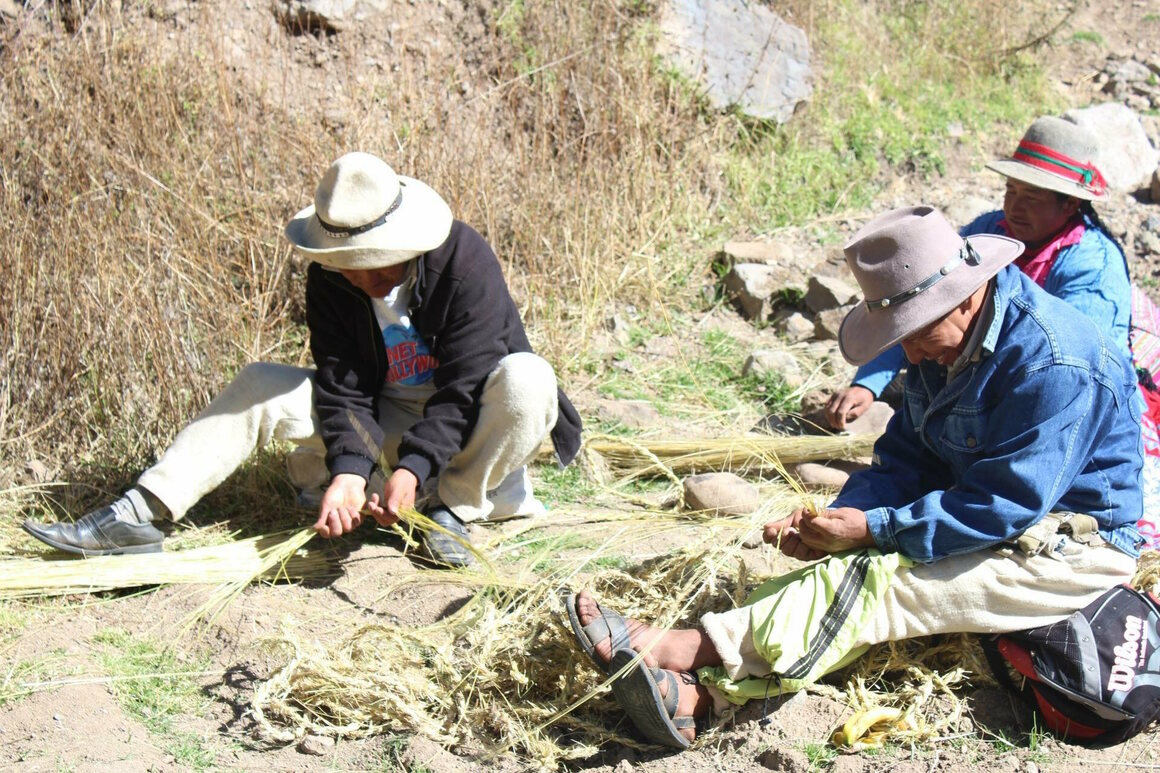 Local villagers braiding ichu grass during the morning before the start of the festival.
