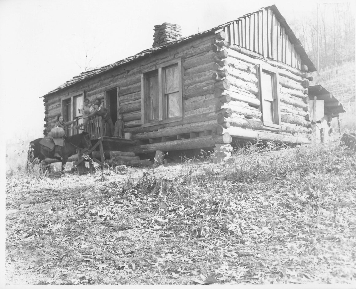 A pack horse librarian at an isolated mountain house, carrying books in saddle bags and hickory baskets, year unknown.