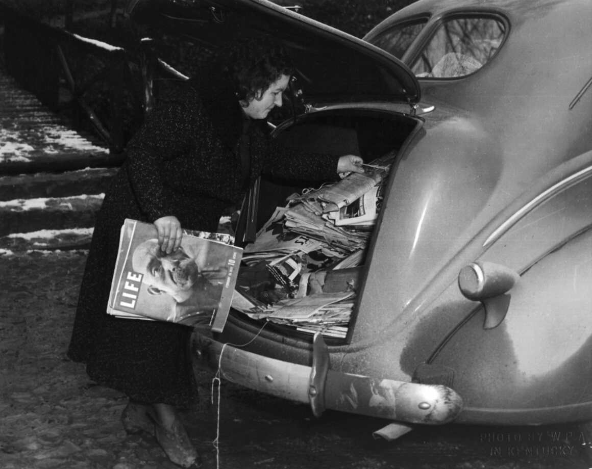A trunk full of donated magazines, c. 1940.