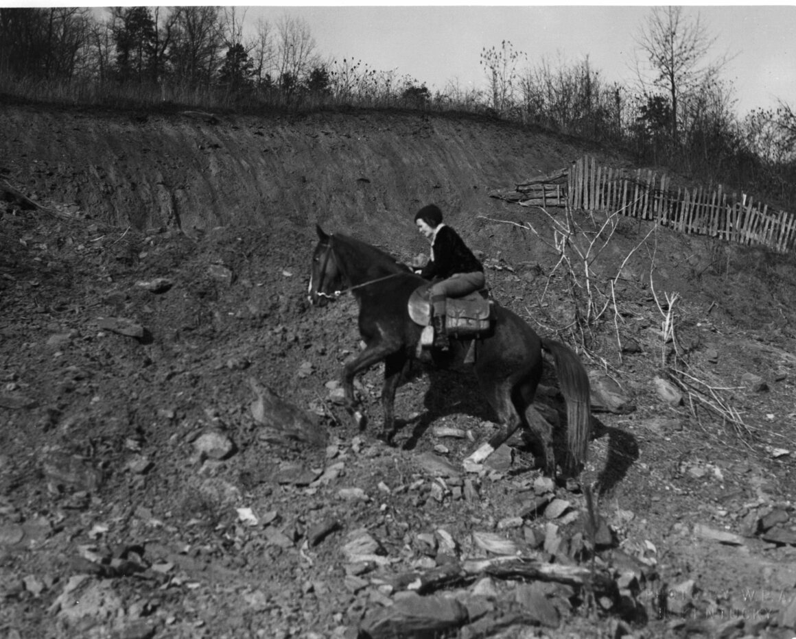 """Sometimes the short way across is the hard way for the horse and rider but schedules have to be maintained if readers are not to be disappointed. Then, too, after highways are left, there is little choice of roads,"" c. 1940."