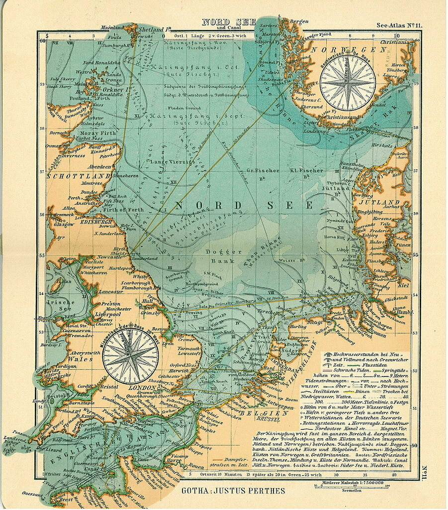 Map of the North Sea, 1906.