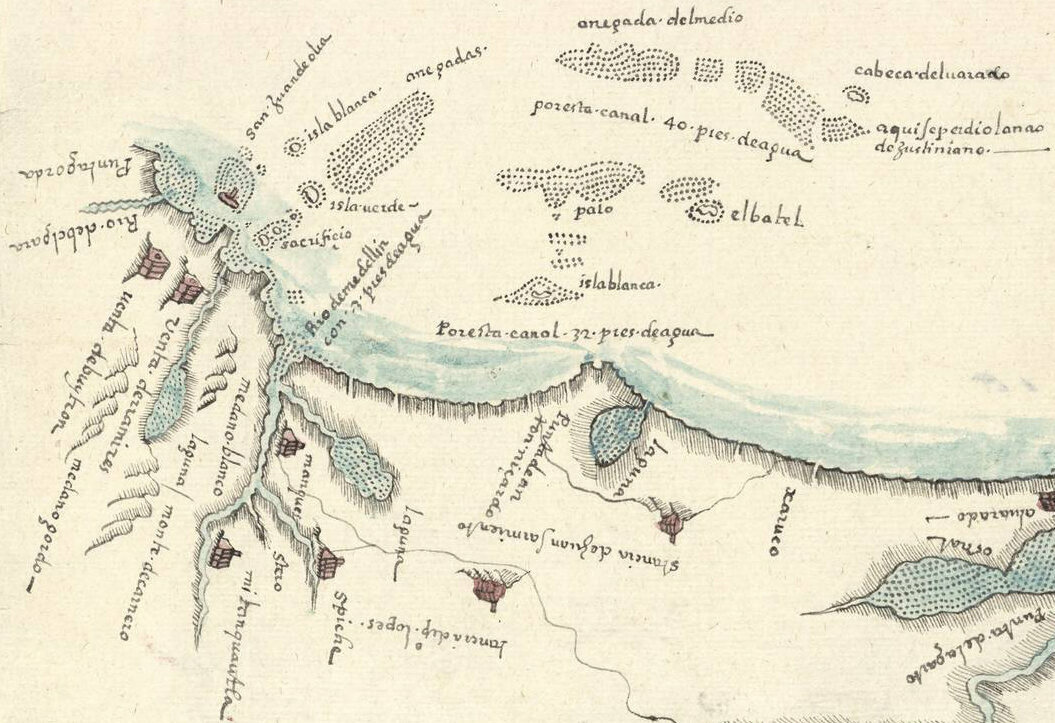 Gali marked settlements with little houses and reefs with dots.