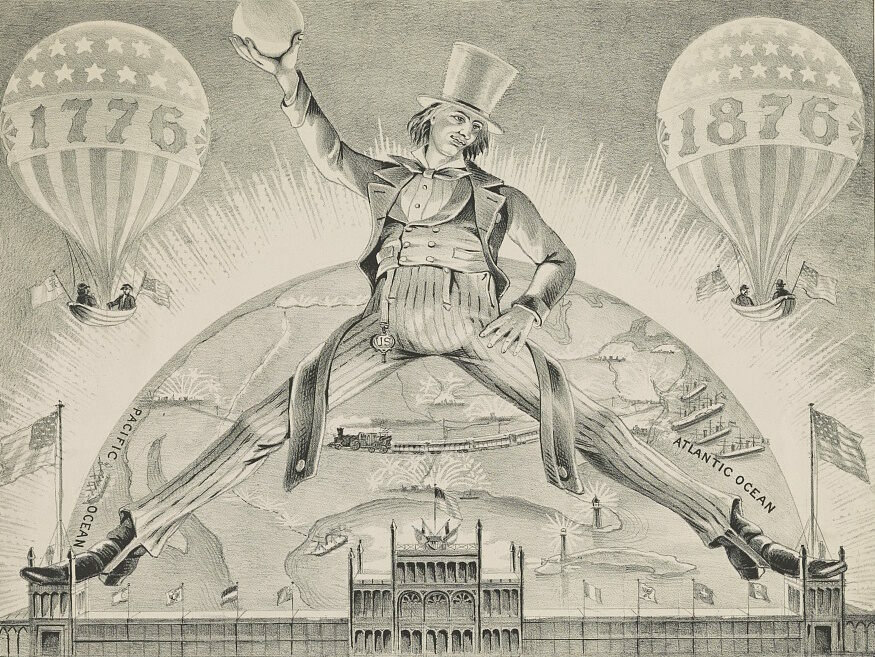 Brother Jonathan celebrates the American centenary by straddling the towers of the main building at the Philadelphia World's Fair of 1876.