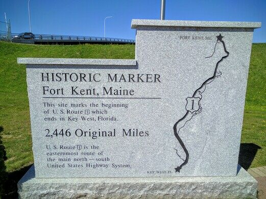 Americas First Mile Fort Kent Maine Atlas Obscura - Us highway 1 map