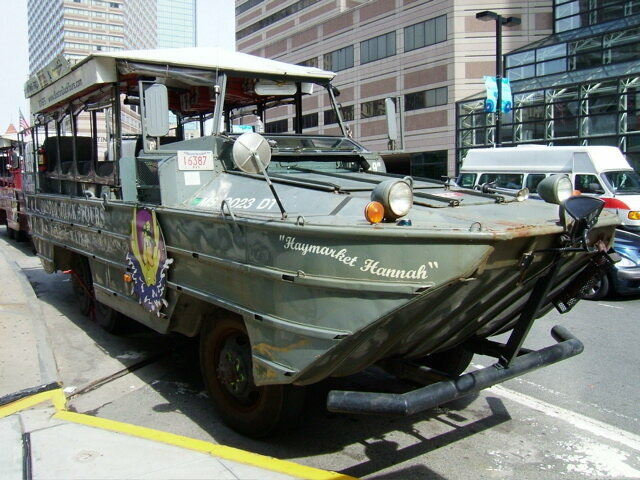 DUKW converted into a tour bus for the famous Boston Duck Tour
