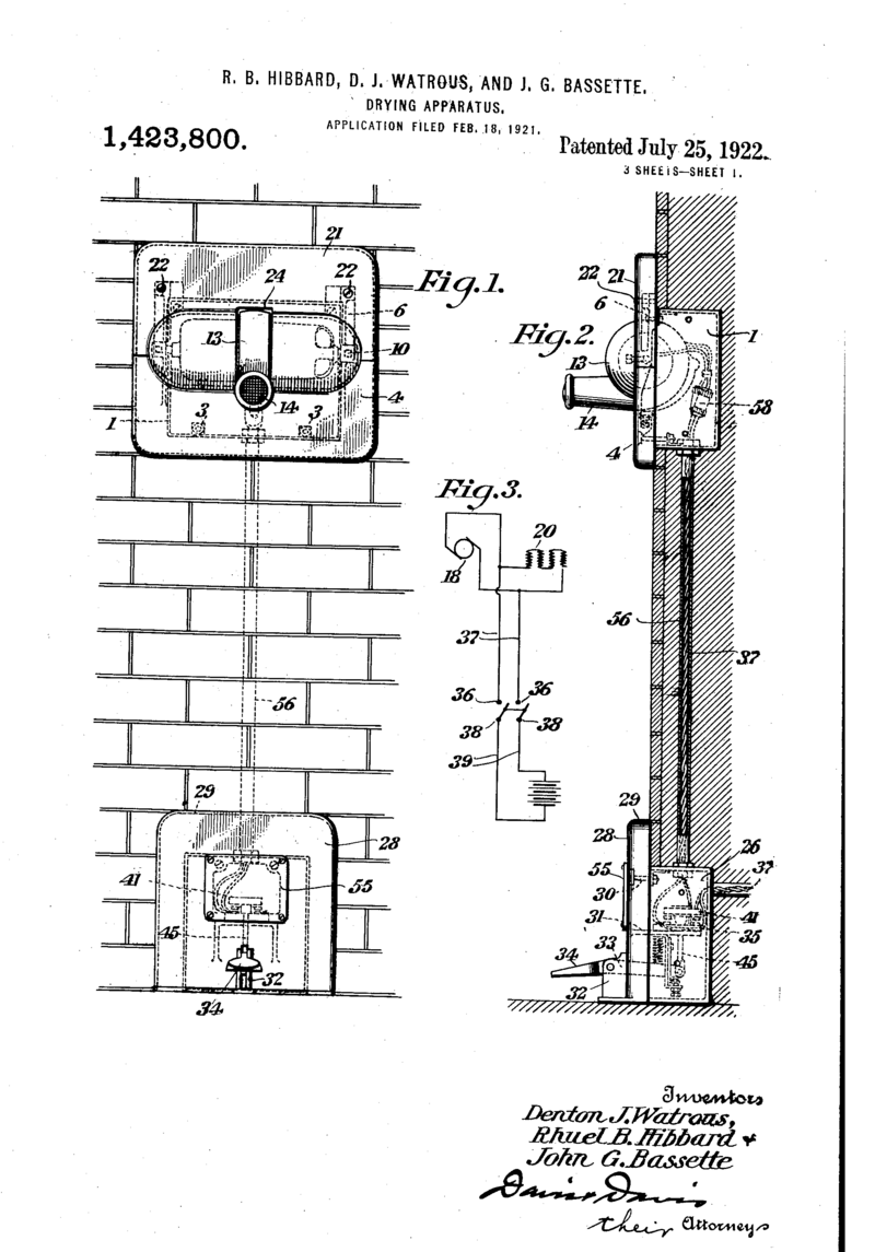 "The 1922 Airdry patent for a ""simple and efiicient apparatus for delivering  a blast ofheated air for drying the face, hands or hair of a person, ..."