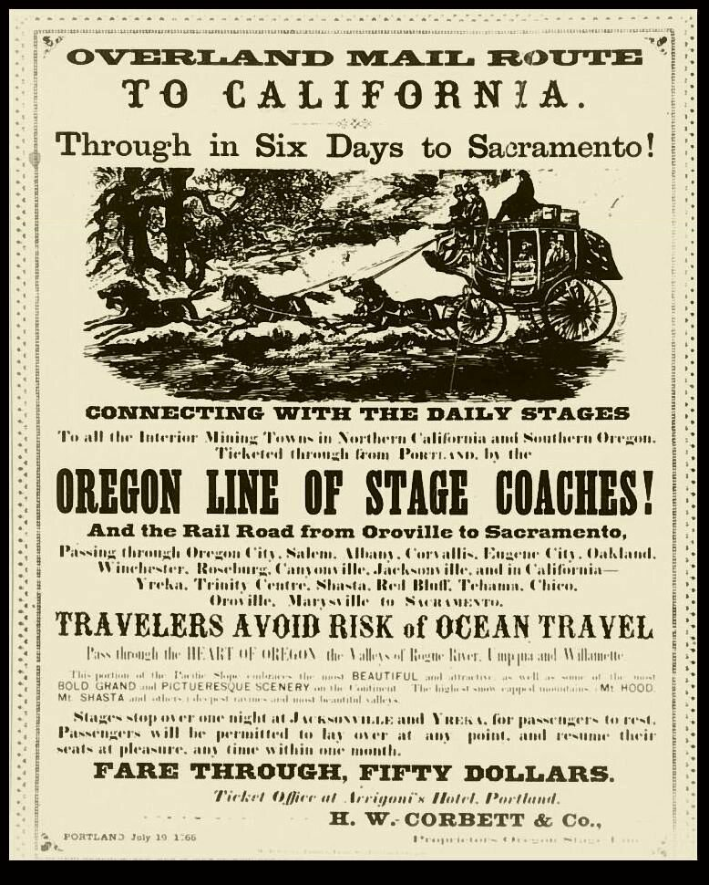 Advertising Poster for Butterfield Overland Mail route, 1865