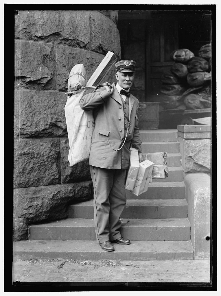 A parcel post delivery man in 1914