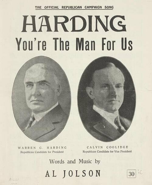 Sheet music for Al Jolson's pro-Harding campaign song. (Image: Library of Congress)