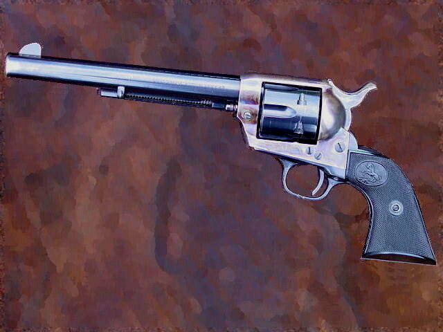 A painting of a Second generation Colt Single Action Army