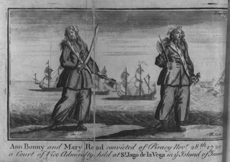 An illustration from 1725 'A general history of the pyrates'
