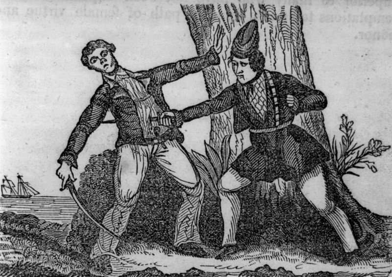 Illustration of  Mary Read killing her antagonist, 1842