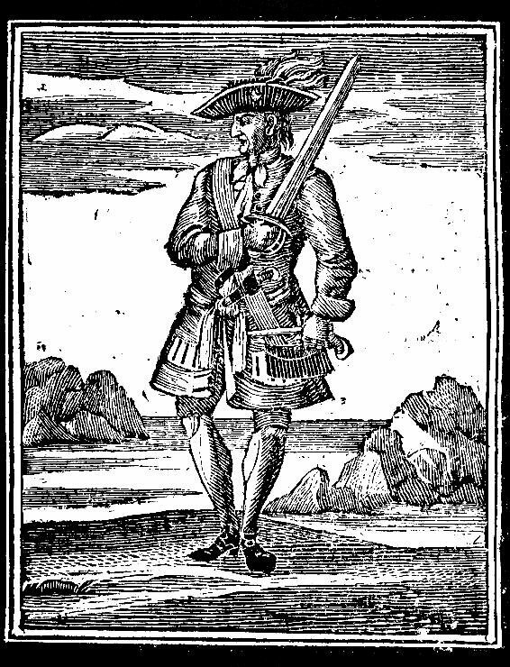 Jack Rackham, aka Calico Jack, Pirate of the Caribbean, 18th century woodcut.