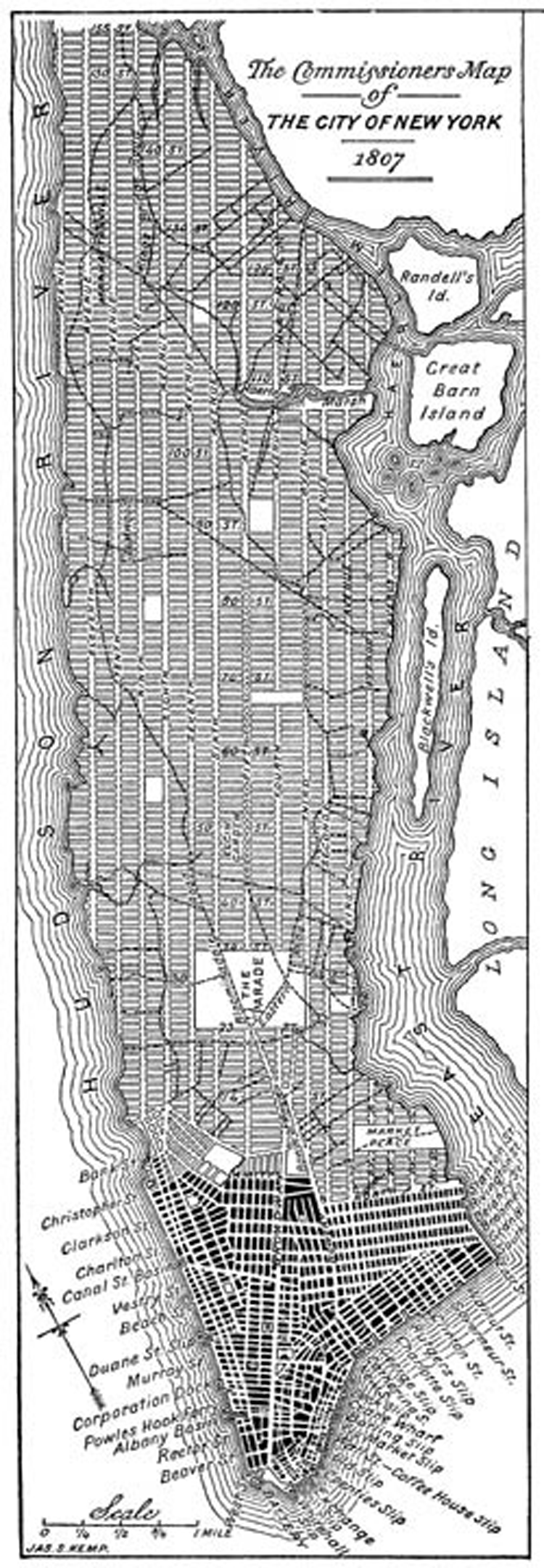 A modern redrawing of the 1807 version of the Commissioner's Grid plan for Manhattan, a few years before it was adopted in 1811