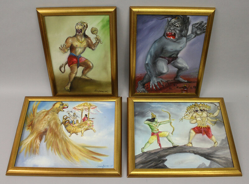 Four small oils on board. Scenes from Sinbad, signed Ray Harryhausen on reverse   £100 – 150