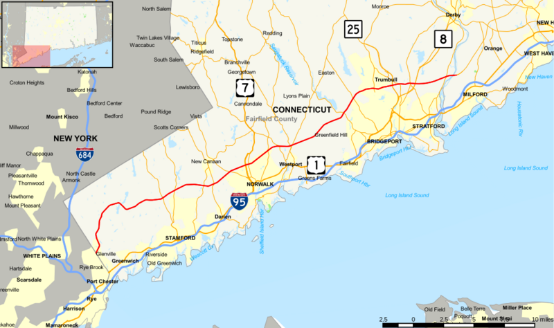 Map of Merritt Parkway