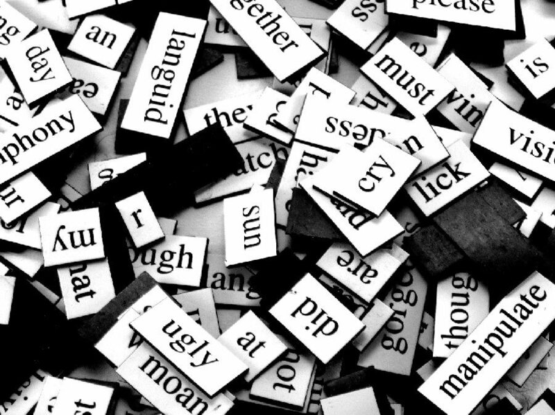 Magnetic poetry tiles, just begging to be recombined.