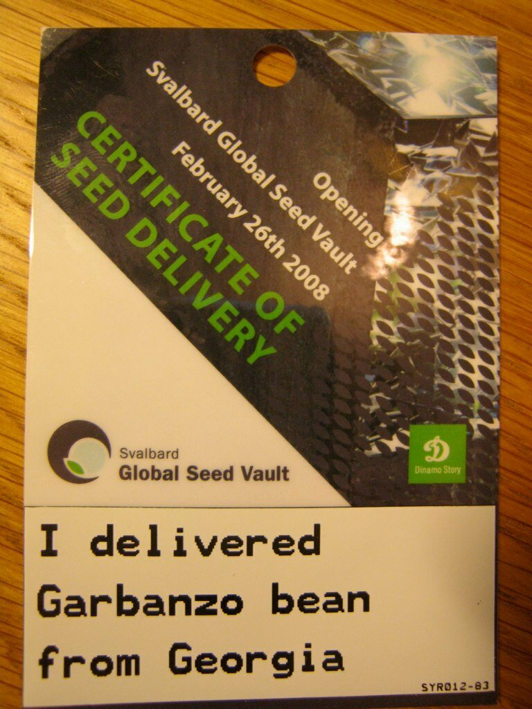 "A seed ""delivery receipt"" from the Svalbard Seed Bank opening ceremonies."