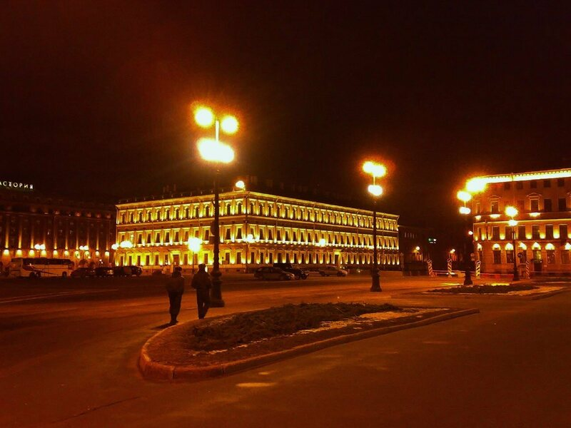 Russia's Vavilov Institute of Plant Genetic Resources (VIR), lit up at night.