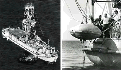 Left, the UCSS 1 off Guadalupe Island, Mexico, and right, One of the six submerged buoys used for dynamic positioning in Project Mohole