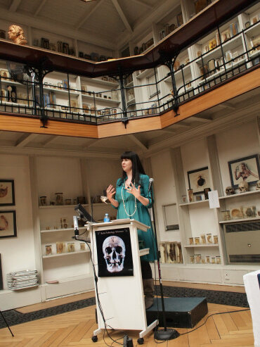 Death Salon co-founder Caitlin Doughty gives a keynote talk at Death Salon UK, at the St Barts Pathology Museum