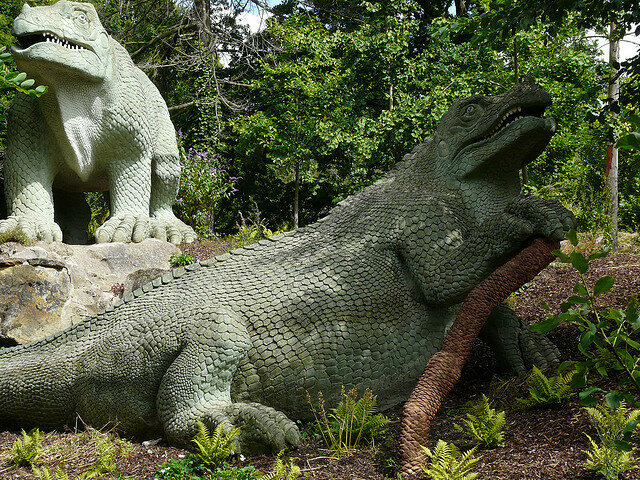 Dinosaurs at Crystal Palace Park. They were classed as Grade II listed buildings from 1973.