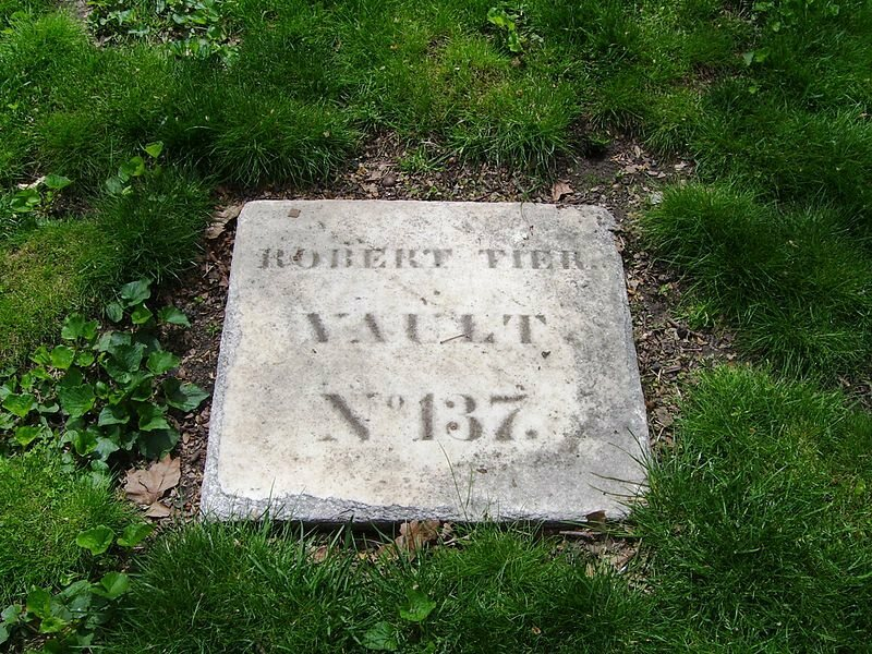 A marble marker at New York City Marble Cemetery used for those vaults without monuments