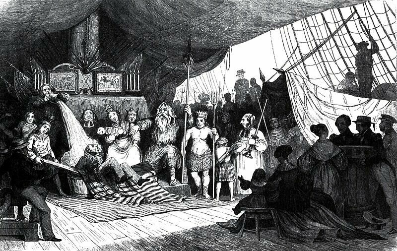 An illustration of an 1816 line-crossing ceremony aboard the frigate Méduse