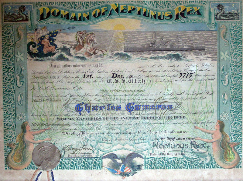 Shellback certificate awarded to Charles Cameron, aboard USS Utah (BB-31), commemorating his first crossing of the equator, December 1, 1928. This is typical of certificates awarded in the pre-WWII period.