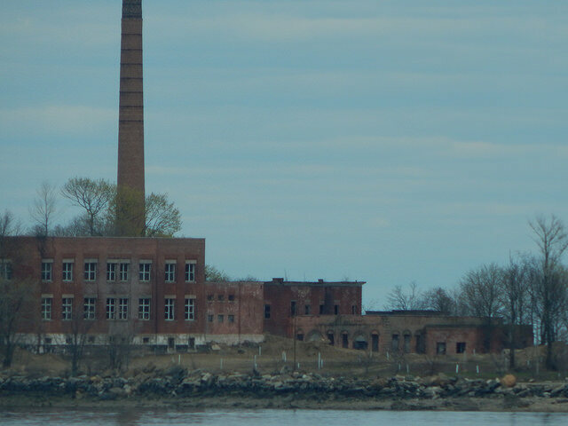 The buildings on Hart Island.