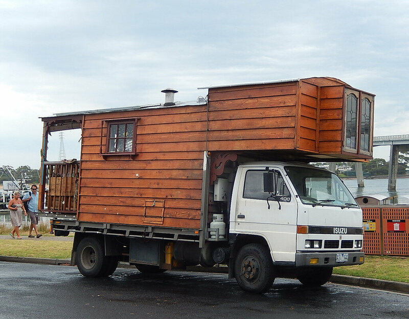 It's a house, on a truck.