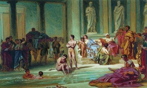 """In the Roman Baths"", by Russian painter Fyodor Bronnikov"