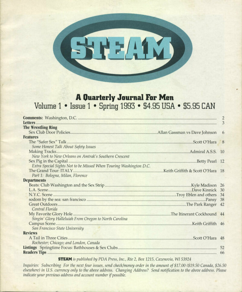 A contents page from a 1993 issue of Steam magazine
