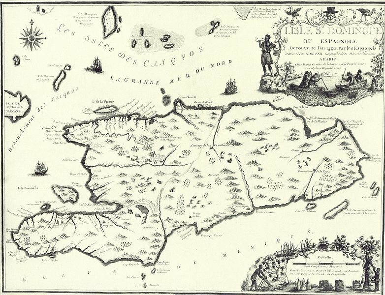 A French map of Hispaniola, 1723.