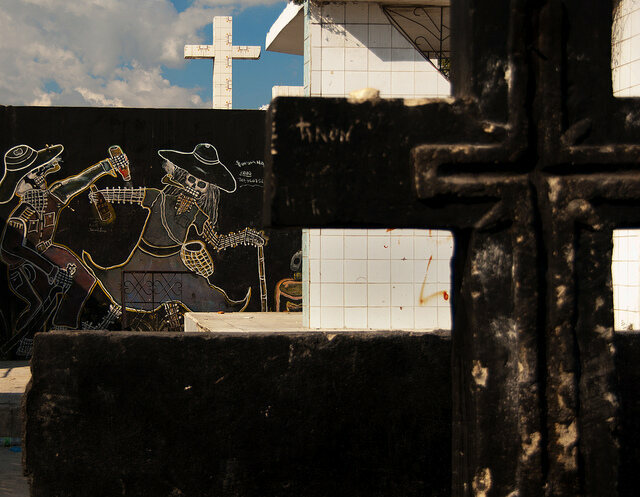 Religious symbols and paintings in Haiti's National Cemetery