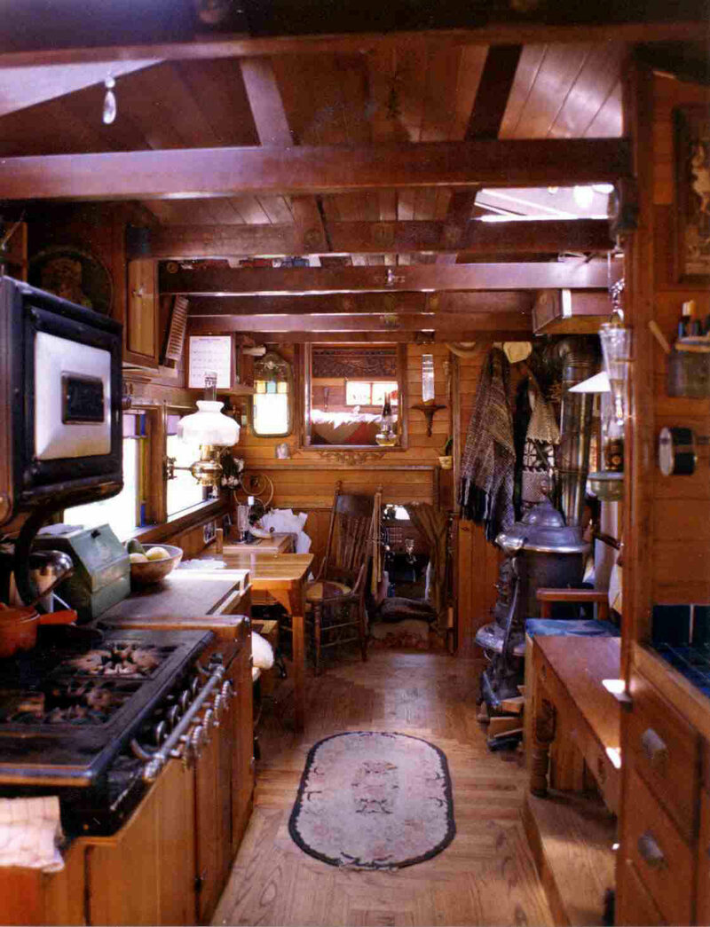The interior of a house truck.