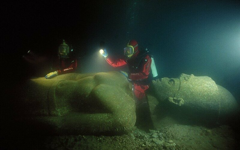 The lost city of Thonis, in the Bay of Aboukir