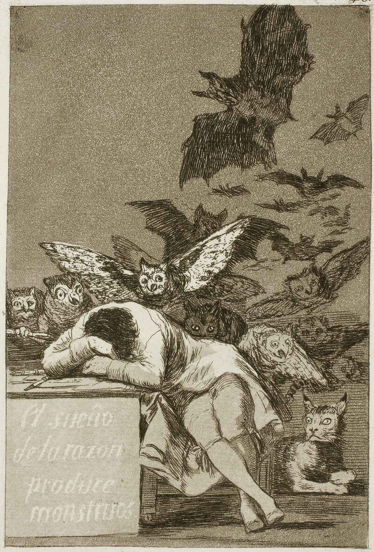 "Francisco de Goya y Lucientes, ""The Dream of Reason Produces Monsters"" 1799"
